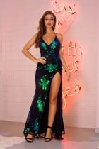 Sequins Floral Straps Slit Evening Dress