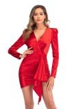 Elegante mini vestido de fiesta envuelto de manga larga rojo