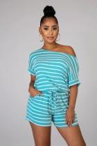 Conjunto de pijama de dos piezas a rayas de verano