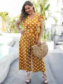 Plus Size Casual Polka Loose Jumpsuit