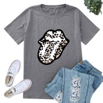 Sommer Print Tongue O-Neck Basic Shirt