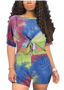 Summer Tie Dye Knot Shirt and Short Set