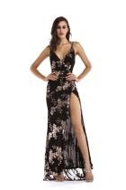 Vestido de noche con lentejuelas y tiras florales
