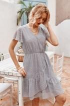 Summer Dot Wrapped Chiffon Dress
