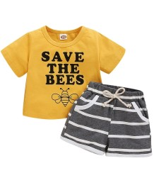 Kids Boy Summer Print Two Piece Short Set