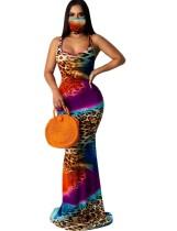 Summer Tie Dye Sleeveless Mermaid Evening Dress