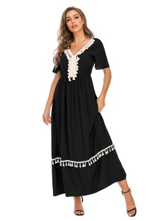 Summer V-Neck Tassels Long Boho Dress