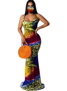 Summer Tie Dye Sleeveless Mermaid Evening Dress