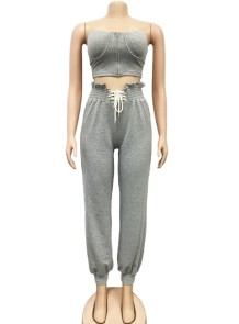 Sexy Strapless Zipper Crop Top and High Waist Trousers