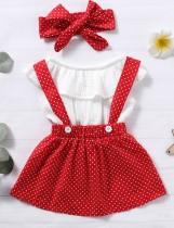 Conjunto de falda de tres piezas con estampado de verano para niña