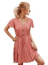 Summer Striped V-Neck Short Dress