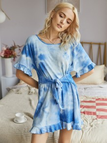 Summer Tie Dye Off Shoulder Ruffle Rompers