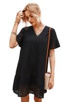 Summer Hollow Out V-Neck Shirt Dress