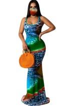 Summer Tie Dye Ärmelloses Meerjungfrau Abendkleid