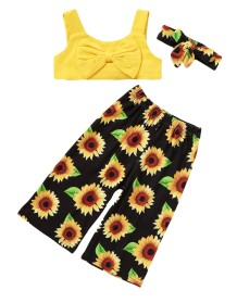 Kids Girl Summer Print Three Piece Pants Set