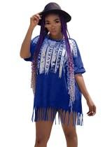 Vestido de camisa com franja com estampa de verão