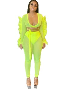 Sexy Neon Two Piece See Through Pants Set