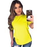 Camisa básica de verano con abertura en color liso
