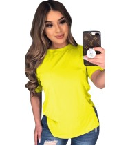 Sommer Solid Color Slit Basic Shirt