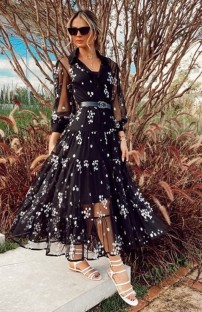 Summer Black Print Long Mesh Dress
