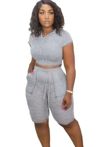 Summer Sports Two Piece Plain Short Set