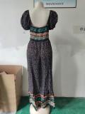 Vestido largo bohemio floral de manga corta de verano