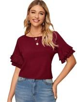 Sommer O-Neck Short Shirt mit Rüschenärmeln