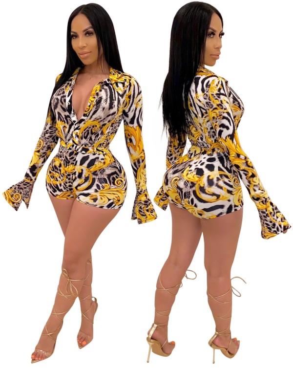 Mamelucos bodycon de manga larga leopardo sexy