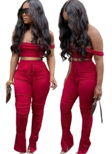Sexy Solid Color Crop Top and Stacked Pants Set