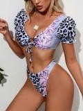 Sexy zweiteilige Kurzarm-Leoparden-Badebekleidung
