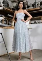 Lentejuelas vestido de fiesta largo sin tirantes de plata