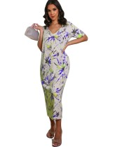 Robe longue d'été à col en V tie-dye