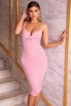 Sexy Straps Plain Midi Kleid