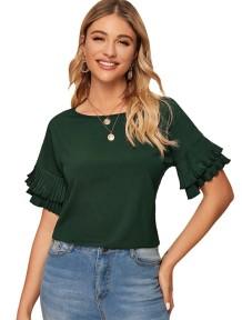 Летняя рубашка с короткими рукавами и рюшами