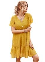 Summer V-Neck Floral Short Chiffon Dress