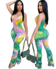 Sexy Tie Dye Straps Stacked Jumpsuit