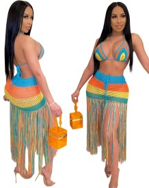 Sexy Multi Color Crochet Beach Bra and Skirt Set