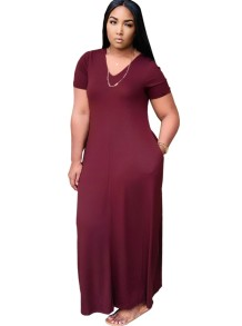 Summer V-Neck Plain Long Dress