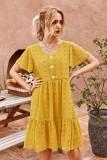 Vestido de gasa corto con cuello en V floral de verano