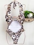 Maillot de bain une pièce sexy léopard découpé