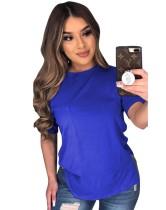 Sommer Solid Color Slit Basic Shirt