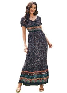 Summer Short Sleeve Floral Bohemian Maxi Dress