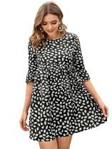 Kurzes Kleid mit Sommer-Passform und Flare-Print