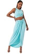 Falda corta sin mangas y top cruzada de verano en color liso