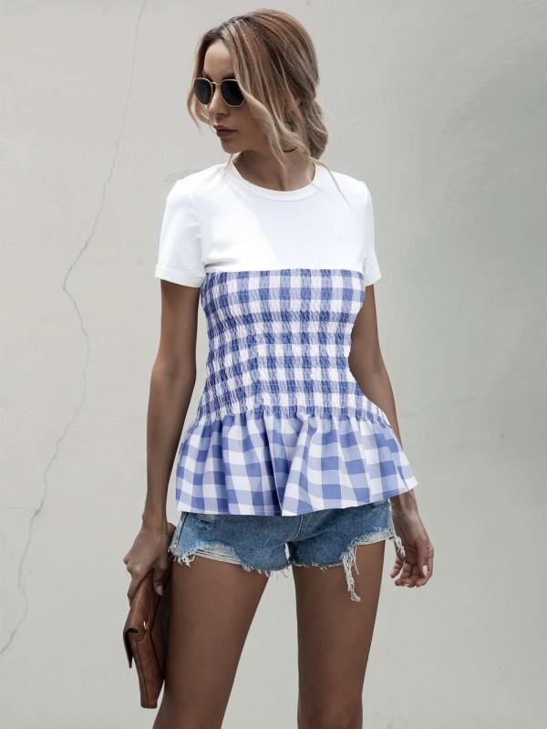 Camisa a cuadros de verano con cuello redondo a cuadros