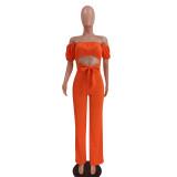 Sexy Orange trägerloser ausgeschnittener Knotenoverall