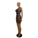 Mini vestido de tirantes anchos de cuadros sexy