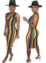 Vestido a media pierna sin mangas con rayas anchas multicolor