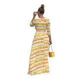 Vestido largo con manga larga y estampado tie dye