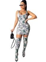 Vestido sexy sin mangas con estampado de dólar de dos piezas